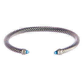 David Yurman 925 Sterling Silver with Blue Topaz and 0.07ct Diamond Womens Bracelet