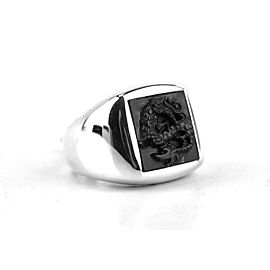JOHN HARDY LEGENDS NAGA RING SIGNET CARVED ONYX SIZE 10 STERLING SILVER