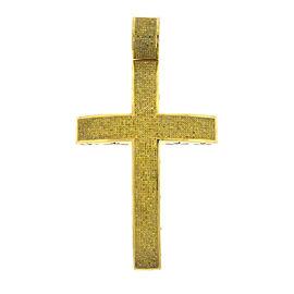 10k Yellow Gold Yellow Diamond Cross Pendant 12 Carats!