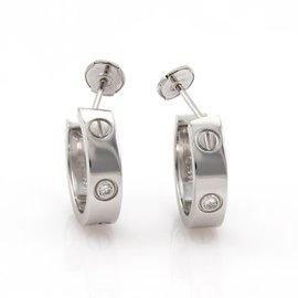 Cartier Love 18K White Gold with 2 Diamond Hoop Earrings