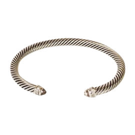 David Yurman Cable Sterling Silver with Morganite and 0.07ctw. Diamond Womens Bracelet