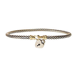 David Yurman Cable Sterling Silver and 18K Yellow Gold Heart Lock Bangle Bracelet
