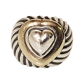 David Yurman 925 Sterling Silver & 18K Yellow Gold Cable Heart Ring Size 6