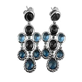 DAVID YURMAN ST. SILVER CHANDELIER DANGLING ULTRAMARINE TOPAZ EARRINGS
