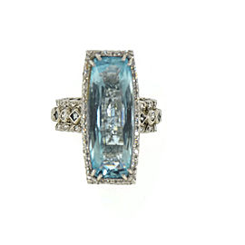 Loree Rodkin Diamond Aquamarine 18K White Gold Ring Size 7