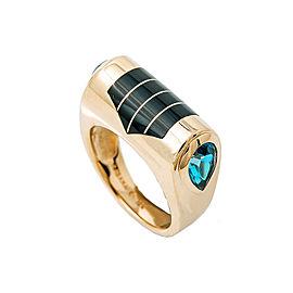 Vintage KABANA 14K Yellow Gold Inlaid Black Onyx Blue Topaz Ring Size 5.25