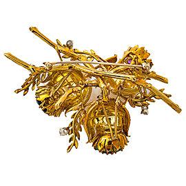 """18K Yellow Gold Rubies Sapphire Emerald Diamonds Flower Pin Brooch 2.75"""" 42.8 Gr"""