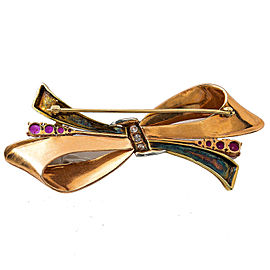 14K Yellow Rose Gold Two Tone Rubies Diamonds Ribbon Pin Brooch 2.75""