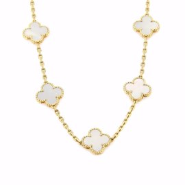 Van Cleef & Arpels Vintage Alhambra 18K Yellow Gold with Mother of Pearl Necklace