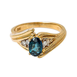 14K Yellow Gold 0.12 Ct Diamond 0.55 Ct Sapphire Ring 4.3 Grams Ring Size 6.75