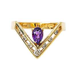 14K Yellow Gold 0.15Ct M SI1 Diamond Amethyst Ring 3.3 Grams Ring Size 5.5