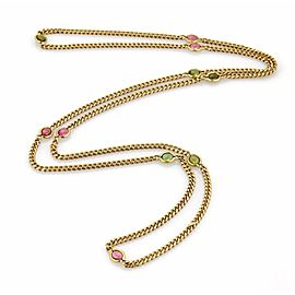 Tiffany & Co. 18K Yellow Gold with 9.00ct Green & Pink Tourmaline Long Link Necklace