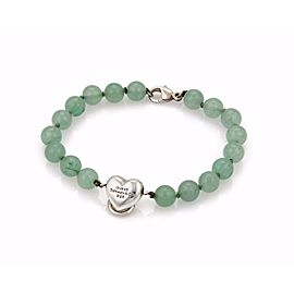 Tiffany & Co. 925 Sterling Silver with Aventurine Bead Ball Heart Bracelet