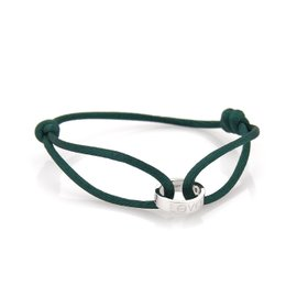 Cartier Love Charity Bracelet 18K White Gold with Green Cord