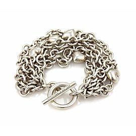 Tiffany & Co. 925 Sterling Silver Multi-Chain Puff Hearts Toggle Clasp Bracelet
