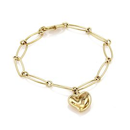 Tiffany & Co. Peretti 18K Yellow Gold Curved Heart Charm Oval Link Chain Bracelet