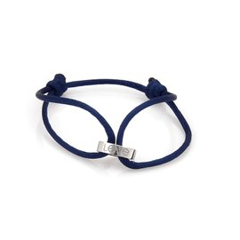 Cartier Love Ring Charm Bracelet 18K White Gold with Blue Cord