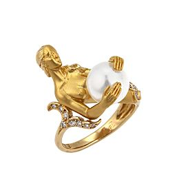 Carrera Y Carrera 18K Yellow Gold Diamond, Cultured Pearl Ring Size 5