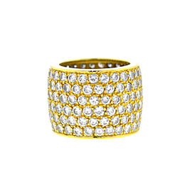 18k Yellow Gold Wide Six Row Diamond Ladies Band Ring 7.8 cts tw