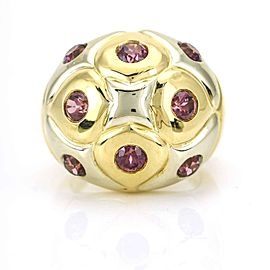 Bulgari 18K White Gold, 18K Yellow Gold Sapphire, Tourmaline Ring Size 6