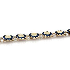 Lucien Piccard 14k 14K Yellow Gold Cultured Pearl, Sapphire Bracelet