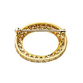 "18K Yellow Gold 2.16 Ct I VS1 Diamond Brooch Pin 1"""