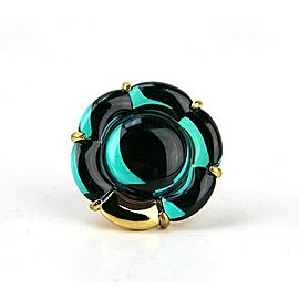 BACCARAT JEWELRY B FLOWER VERMEIL SILVER GREEN MORDORE LARGE RING SZ 6,5 (53)