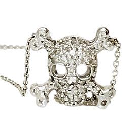 Roberto Coin 18K White Gold Diamond Skull Necklace