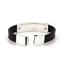 Gucci Sterling Sterling Silver Leather Bracelet