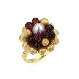 Marco Bicego Paradise 18K Yellow Gold Tourmaline, Cultured Pearl Ring Size 7.5