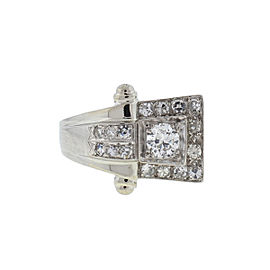 14k White Gold European Cut Diamond Ring