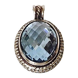 David Yurman Sterling Silver Topaz Diamond Pendant