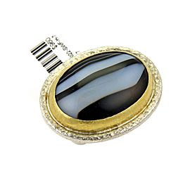 Gurhan Black 24K Yellow Gold, Sterling Silver Agate Ring Size 7.5