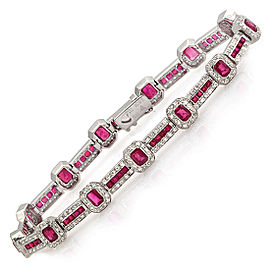 18K White Gold Ruby Diamond Bracelet