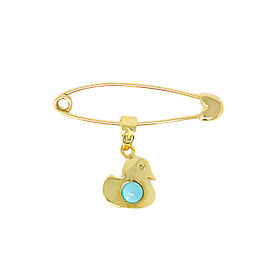 ANATOL 18K Yellow Gold Pin Brooch 14K Turquoise Duckling Charm BABY 1.25""