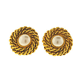 Chanel Gold Tone Faux Pearl Earrings