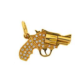 18k Yellow Gold Diamond Gun Revolver Pendant 1.12 Cts TW