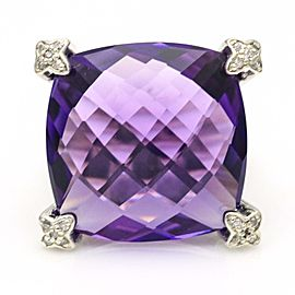 David Yurman Amethyst Cushion on Point Ring with Diamonds in Sterling Silver Size 5.5