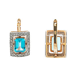14K Rose Gold Two Tone 0.60 Ct G VS1 Diamond Blue Topaz Latch Back Earrings