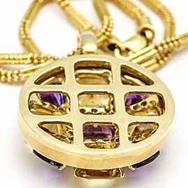 Amethyst Citrine Diamond 18k Gold Round Pendant On Barrel Chain Necklace