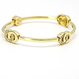 Movado 18k Yellow Gold Interlocking Circles Diamond Bangle Bracelet