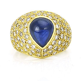 4.85ct Cabochon Sapphire and Diamond Ring in 18k Yellow Gold Size 8