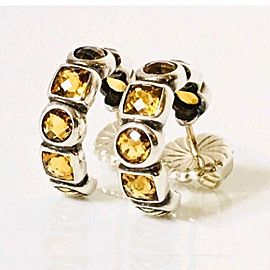 David Yurman 18K Yellow Gold, Sterling Silver Citrine Chiclet Hoop Earrings