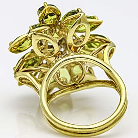 Peridot and Diamond Flower Cocktail Ring in 18k Yellow Gold