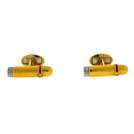 18k Yellow Gold Cigar Shaped Diamond Cufflinks Approx.06 TCW
