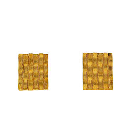 14k Yellow Gold Square Ridged Cufflinks