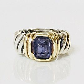 David Yurman Iolite Wide Cable Band Ring 925 Sterling Silver & 585 14k Gold Size 6.5