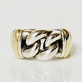 David Yurman Wide Metro Curb Link Ring DY 925 Sterling Silver & 750 18k Gold Ring Size 7
