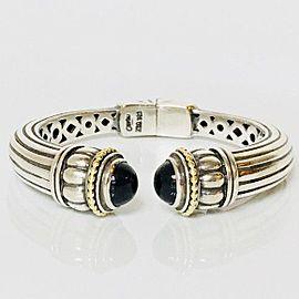 Lagos Caviar Signature Black Onyx Cuff Bracelet 925 Sterling Silver 750 18k Gold