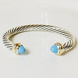 David Yurman Turquoise Classic Cable Cuff Bracelet 14k Gold Sterling Silver